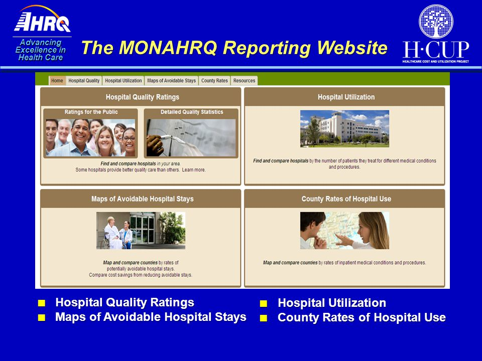 Advancing Excellence in Health Care The MONAHRQ Reporting Website ■ Hospital Quality Ratings ■ Maps of Avoidable Hospital Stays ■ Hospital Utilization