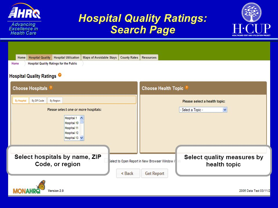 Advancing Excellence in Health Care Hospital Quality Ratings: Search Page Select hospitals by name, ZIP Code, or region Select quality measures by hea