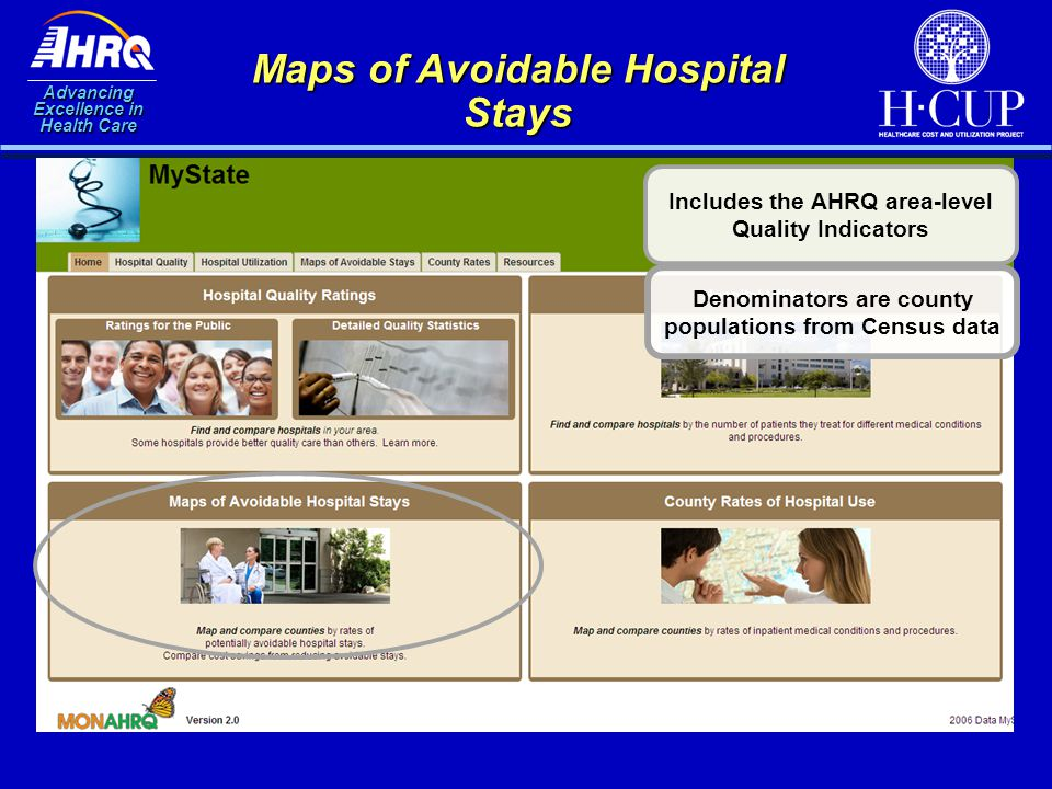 Advancing Excellence in Health Care Maps of Avoidable Hospital Stays Includes the AHRQ area-level Quality Indicators Denominators are county populatio