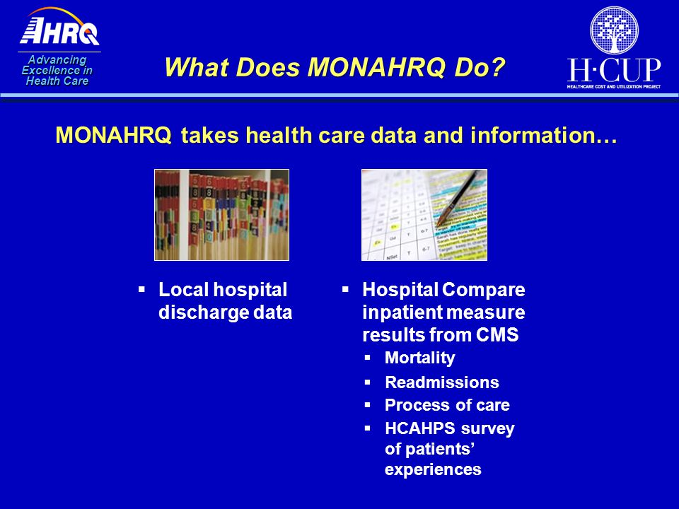 Advancing Excellence in Health Care What Does MONAHRQ Do? MONAHRQ takes health care data and information…  Local hospital discharge data  Hospital C
