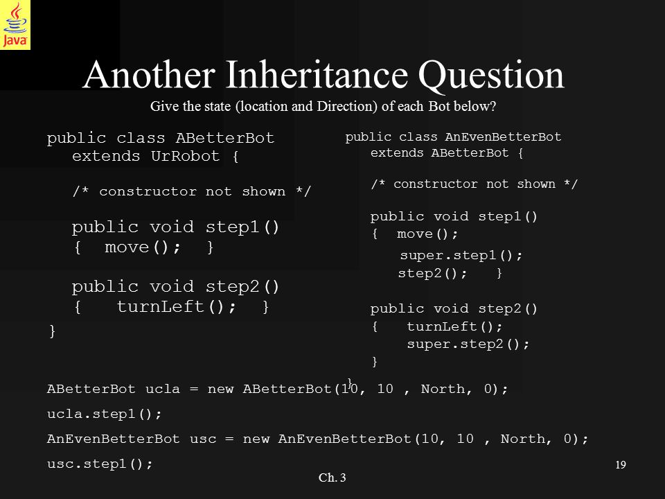 19 Ch. 3 Another Inheritance Question Give the state (location and Direction) of each Bot below.