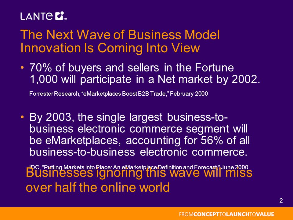 2 The Next Wave of Business Model Innovation Is Coming Into View 70% of buyers and sellers in the Fortune 1,000 will participate in a Net market by 20