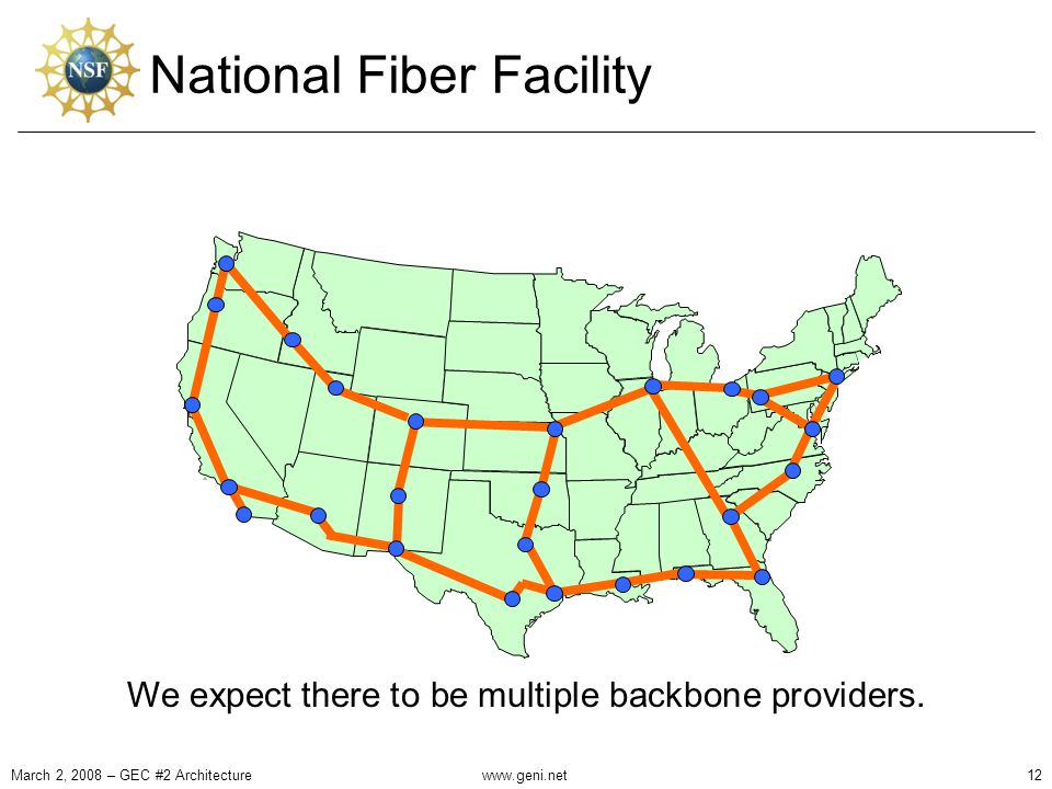 National Fiber Facility March 2, 2008 – GEC #2 Architecture12www.geni.net We expect there to be multiple backbone providers.