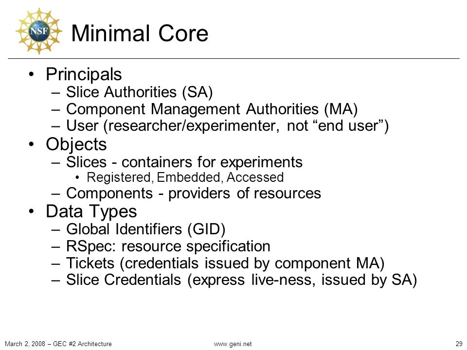 Minimal Core Principals –Slice Authorities (SA) –Component Management Authorities (MA) –User (researcher/experimenter, not end user ) Objects –Slices - containers for experiments Registered, Embedded, Accessed –Components - providers of resources Data Types –Global Identifiers (GID) –RSpec: resource specification –Tickets (credentials issued by component MA) –Slice Credentials (express live-ness, issued by SA) March 2, 2008 – GEC #2 Architecture29www.geni.net