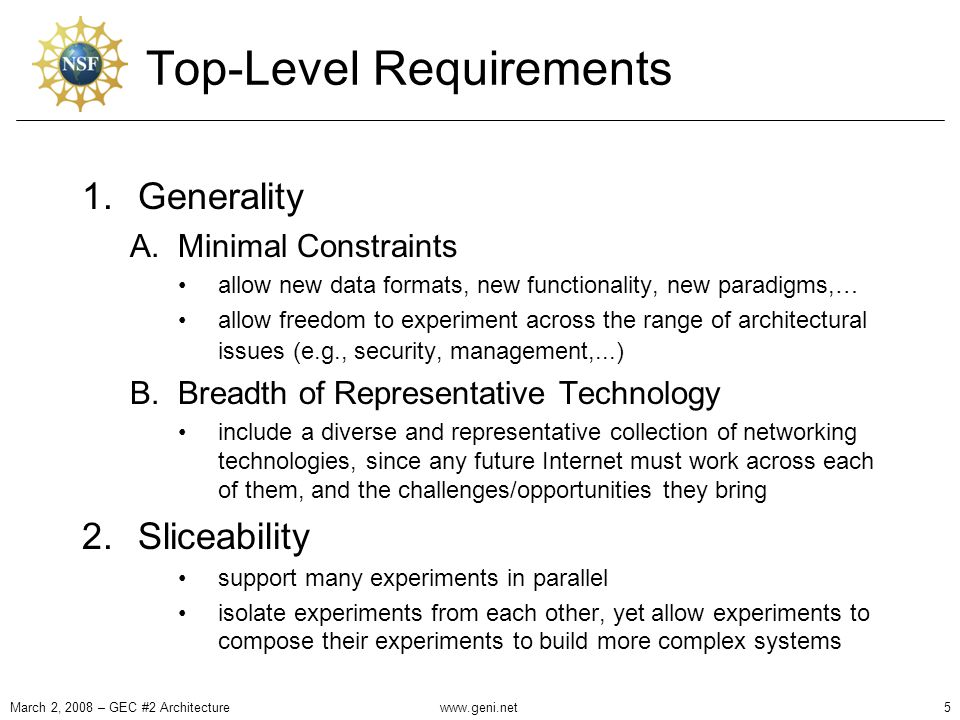 Top-Level Requirements 1.Generality A.Minimal Constraints allow new data formats, new functionality, new paradigms,… allow freedom to experiment across the range of architectural issues (e.g., security, management,...) B.Breadth of Representative Technology include a diverse and representative collection of networking technologies, since any future Internet must work across each of them, and the challenges/opportunities they bring 2.Sliceability support many experiments in parallel isolate experiments from each other, yet allow experiments to compose their experiments to build more complex systems March 2, 2008 – GEC #2 Architecture5www.geni.net