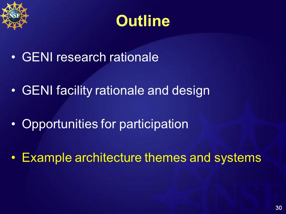 30 Outline GENI research rationale GENI facility rationale and design Opportunities for participation Example architecture themes and systems