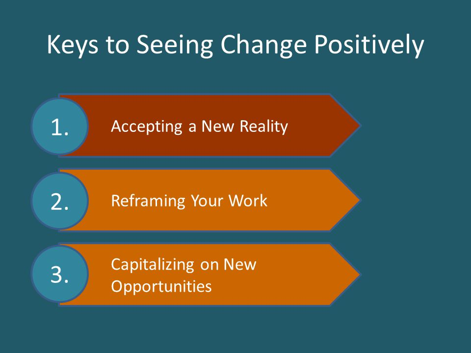 Accepting a New Reality Reframing Your Work Capitalizing on New Opportunities Keys to Seeing Change Positively 1.