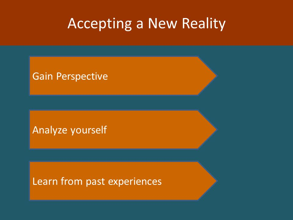Learn from past experiences Analyze yourself Gain Perspective Accepting a New Reality