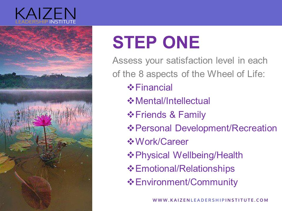 STEP ONE Assess your satisfaction level in each of the 8 aspects of the Wheel of Life:  Financial  Mental/Intellectual  Friends & Family  Personal Development/Recreation  Work/Career  Physical Wellbeing/Health  Emotional/Relationships  Environment/Community