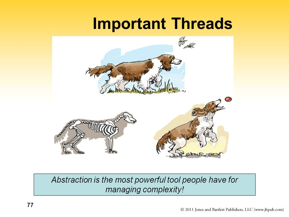 77 Important Threads Abstraction is the most powerful tool people have for managing complexity!