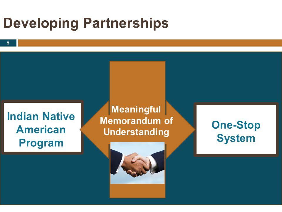 Developing Partnerships 5 Indian Native American Program One-Stop System Meaningful Memorandum of Understanding