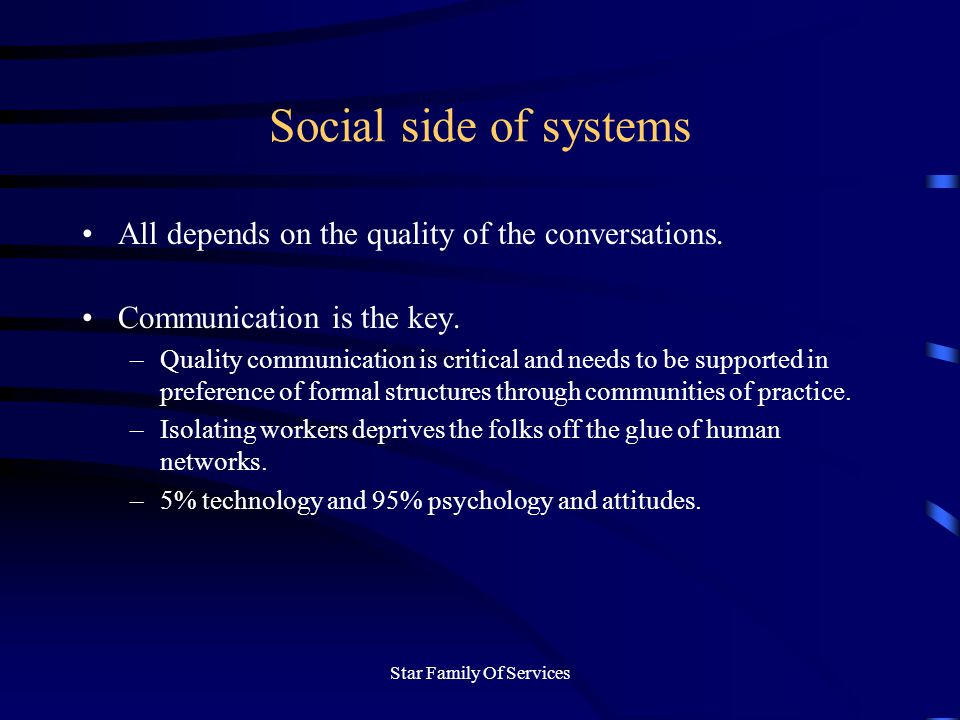 Star Family Of Services Social side of systems All depends on the quality of the conversations.