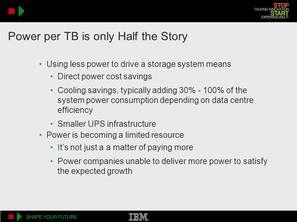 Power per TB is only Half the Story Using less power to drive a storage system means Direct power cost savings Cooling savings, typically adding 30% -