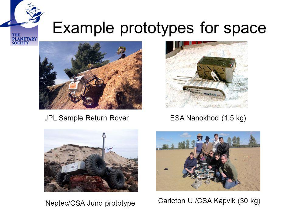 Example prototypes for space JPL Sample Return Rover Carleton U./CSA Kapvik (30 kg) Neptec/CSA Juno prototype ESA Nanokhod (1.5 kg)