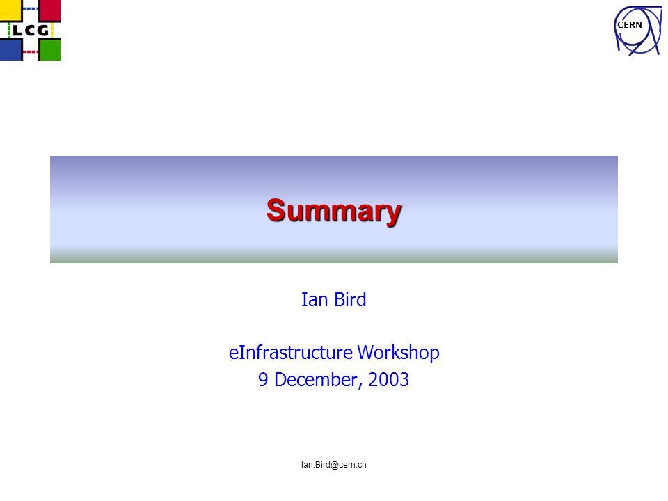 CERN Ian.Bird@cern.ch Summary Ian Bird eInfrastructure Workshop 9 December, 2003