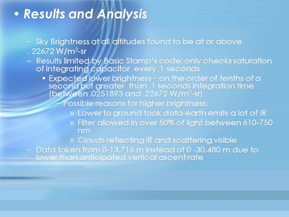 Results and Analysis –Sky Brightness at all altitudes found to be at or above.