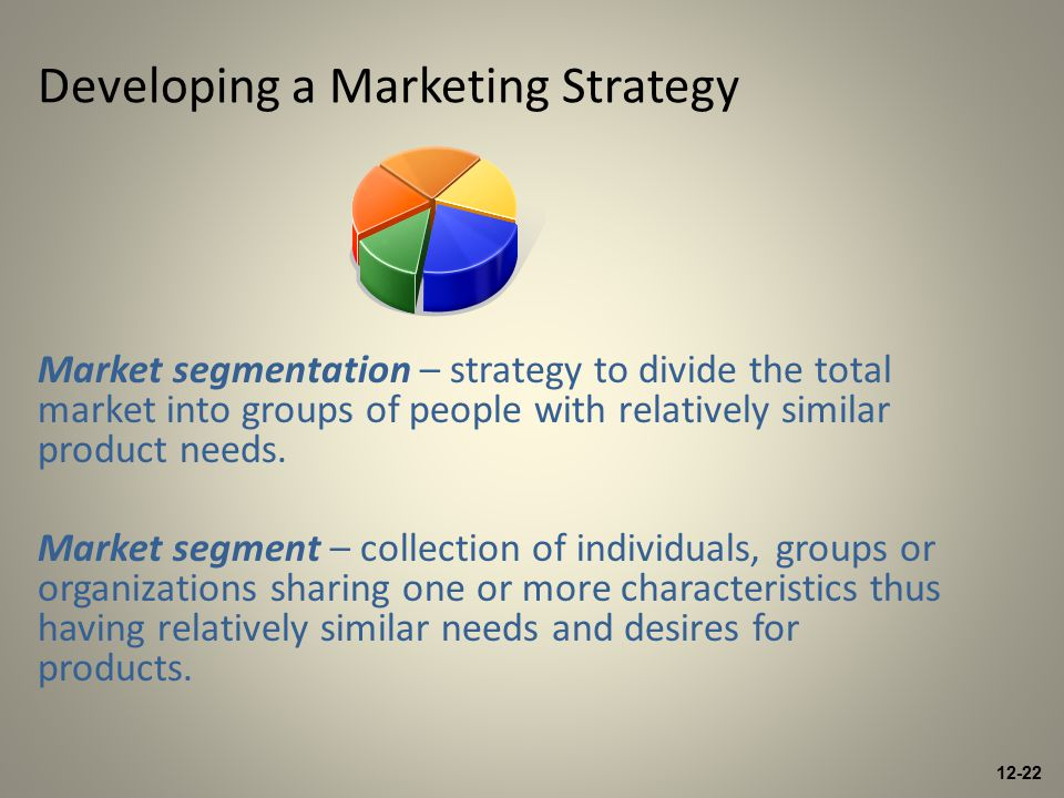 12-22 Developing a Marketing Strategy Market segmentation – strategy to divide the total market into groups of people with relatively similar product needs.