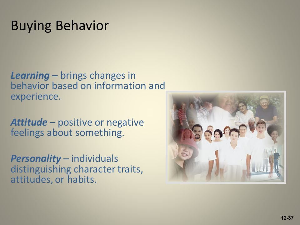 12-37 Buying Behavior Learning – brings changes in behavior based on information and experience.