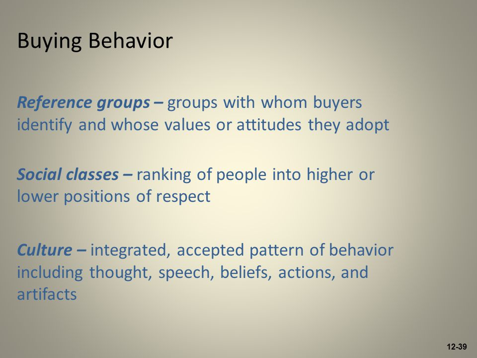 12-39 Buying Behavior Reference groups – groups with whom buyers identify and whose values or attitudes they adopt Social classes – ranking of people into higher or lower positions of respect Culture – integrated, accepted pattern of behavior including thought, speech, beliefs, actions, and artifacts