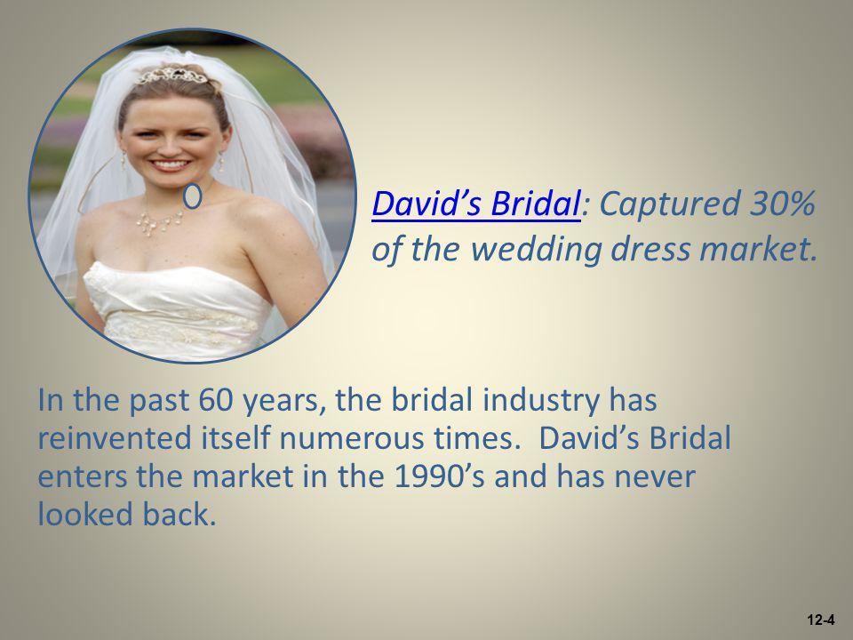12-4 David's BridalDavid's Bridal: Captured 30% of the wedding dress market.