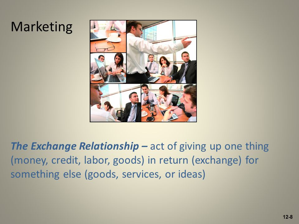 12-8 The Exchange Relationship – act of giving up one thing (money, credit, labor, goods) in return (exchange) for something else (goods, services, or ideas) Marketing