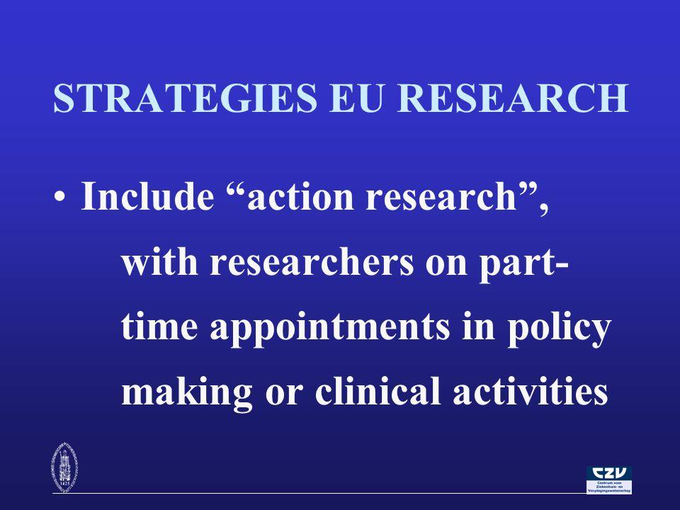 STRATEGIES EU RESEARCH Anticipate a visible avenue for public health improvements