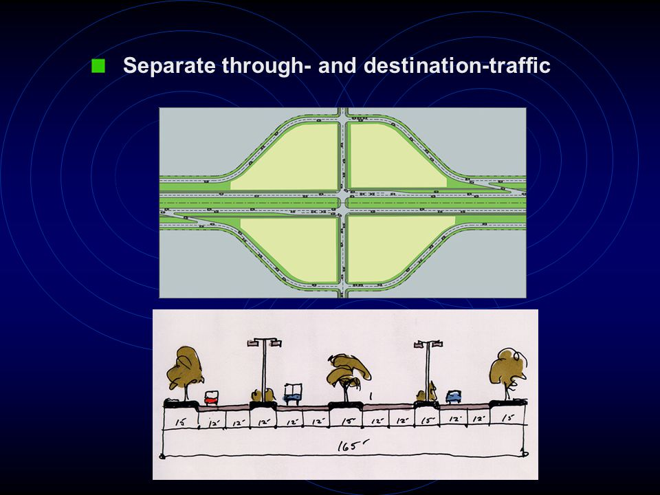 Separate through- and destination-traffic