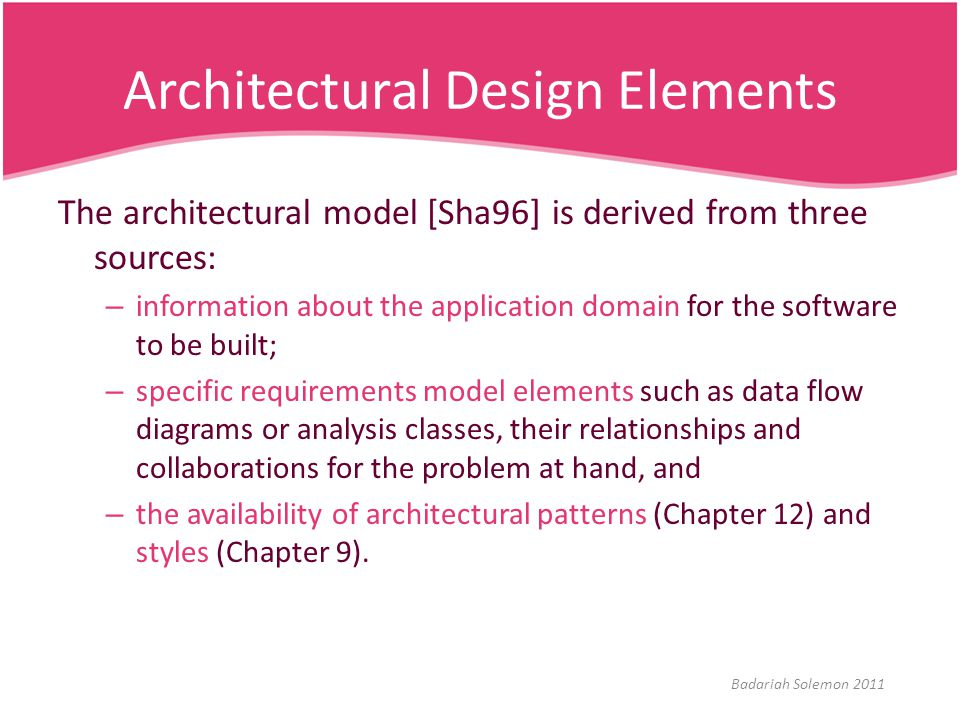 Architectural Design Elements The architectural model [Sha96] is derived from three sources: – information about the application domain for the softwa