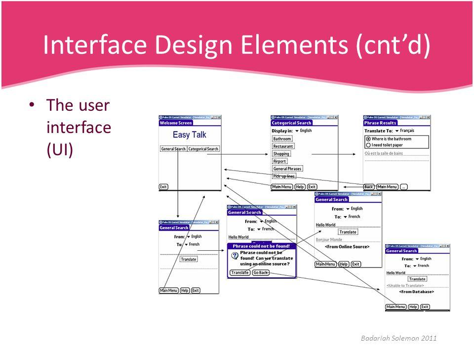 Interface Design Elements (cnt'd) The user interface (UI) Badariah Solemon 2011