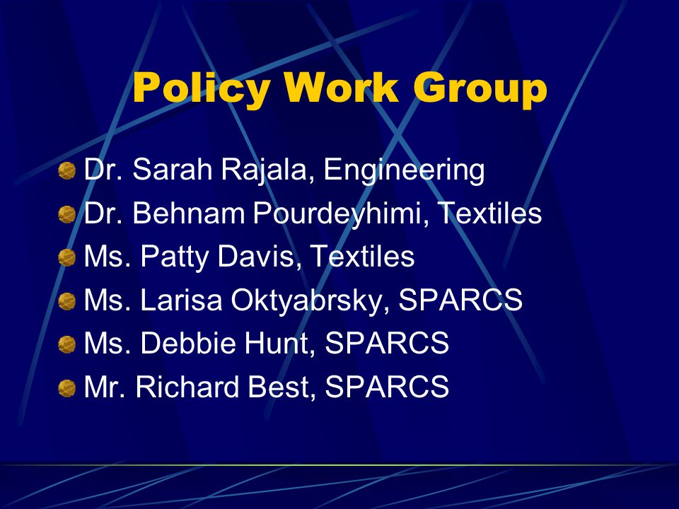 Policy Work Group Dr. Sarah Rajala, Engineering Dr.