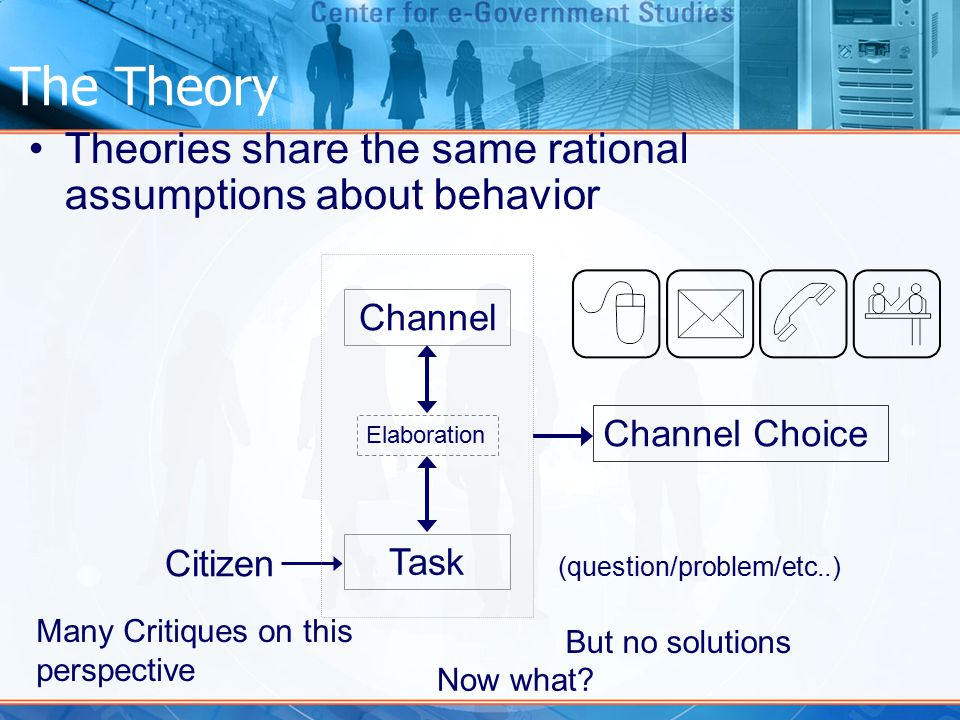 The Theory Theories share the same rational assumptions about behavior Citizen Task Channel (question/problem/etc..) Elaboration Channel Choice Many Critiques on this perspective Now what.