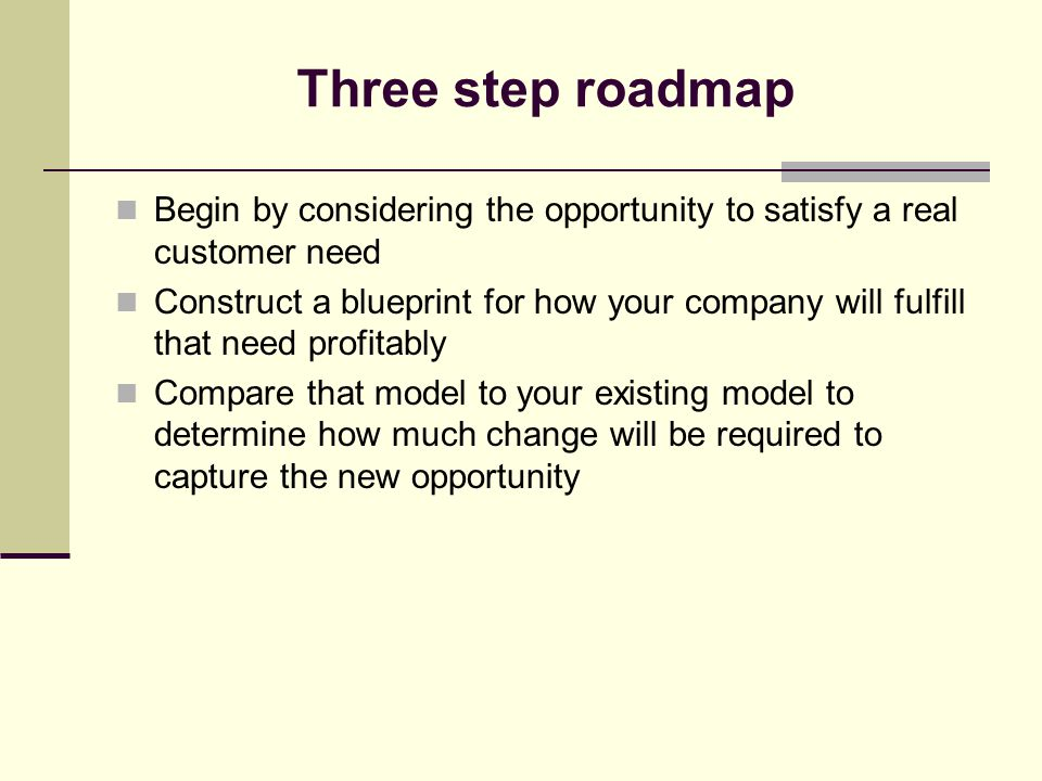 Three step roadmap Begin by considering the opportunity to satisfy a real customer need Construct a blueprint for how your company will fulfill that need profitably Compare that model to your existing model to determine how much change will be required to capture the new opportunity