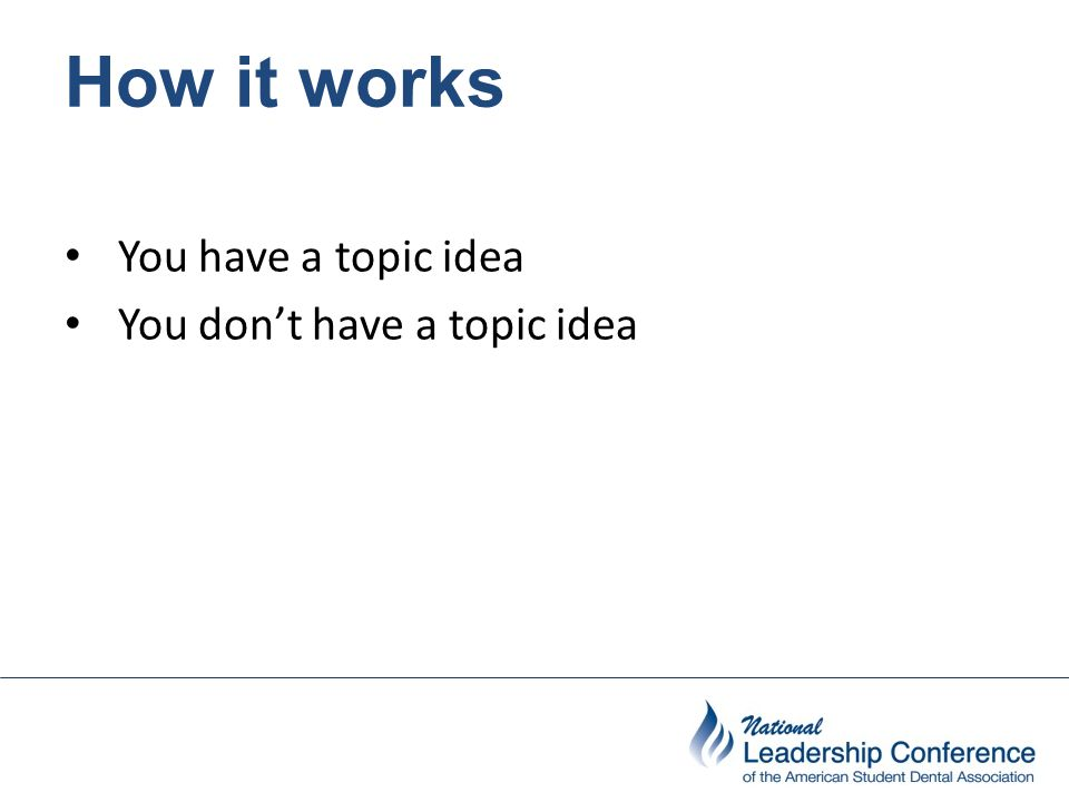 How it works You have a topic idea You don't have a topic idea