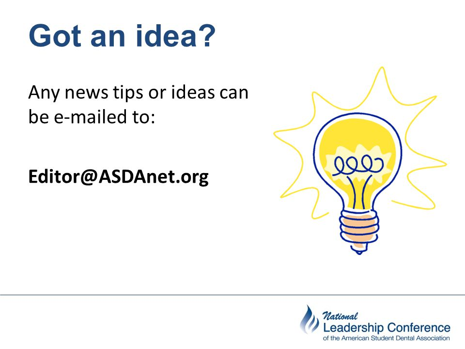 Got an idea? Any news tips or ideas can be e-mailed to: Editor@ASDAnet.org