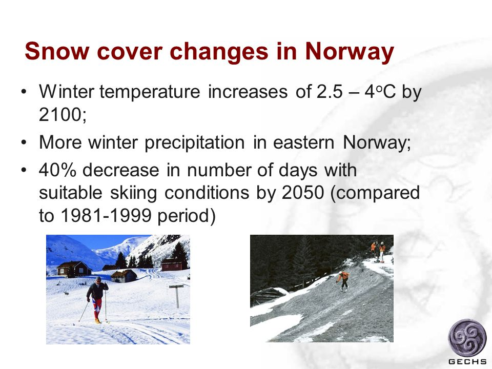 Snow cover changes in Norway Winter temperature increases of 2.5 – 4 o C by 2100; More winter precipitation in eastern Norway; 40% decrease in number