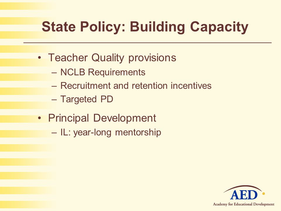 State Policy: Building Capacity Teacher Quality provisions –NCLB Requirements –Recruitment and retention incentives –Targeted PD Principal Development –IL: year-long mentorship
