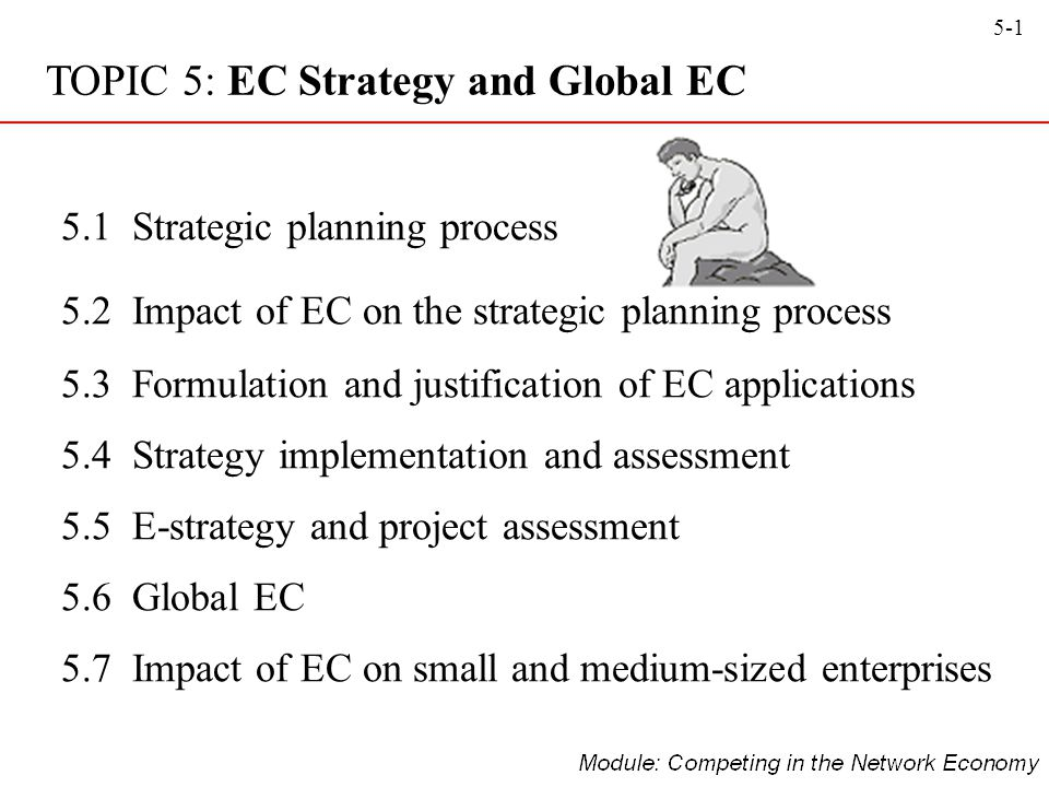 5-12 Strategy initiation: –The initial phase of strategic planning in which the organisation examines itself and its environment Outcomes from strategy initiation –Company analysis (including value proposition, vision, mission, strengths, weaknesses, etc) –Core competencies (the unique combination of resources and experience of a firm) –Forecasts (identifying business, technological, political, economic, etc that are currently affecting or likely to affect the business) –Competitor (direct, indirect, and potential) analysis 5.1: Organisational Strategy