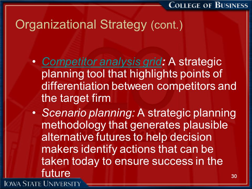 30 Organizational Strategy (cont.) Competitor analysis grid: A strategic planning tool that highlights points of differentiation between competitors a