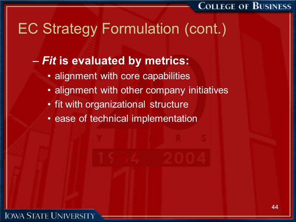 44 EC Strategy Formulation (cont.) –Fit is evaluated by metrics: alignment with core capabilities alignment with other company initiatives fit with or