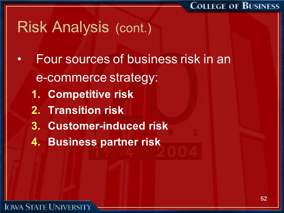 52 Risk Analysis (cont.) Four sources of business risk in an e-commerce strategy: 1.Competitive risk 2.Transition risk 3.Customer-induced risk 4.Busin