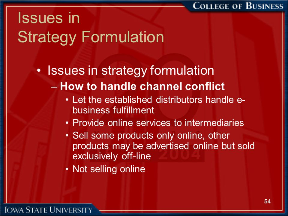 54 Issues in Strategy Formulation Issues in strategy formulation –How to handle channel conflict Let the established distributors handle e- business f