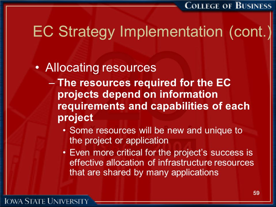 59 EC Strategy Implementation (cont.) Allocating resources –The resources required for the EC projects depend on information requirements and capabili