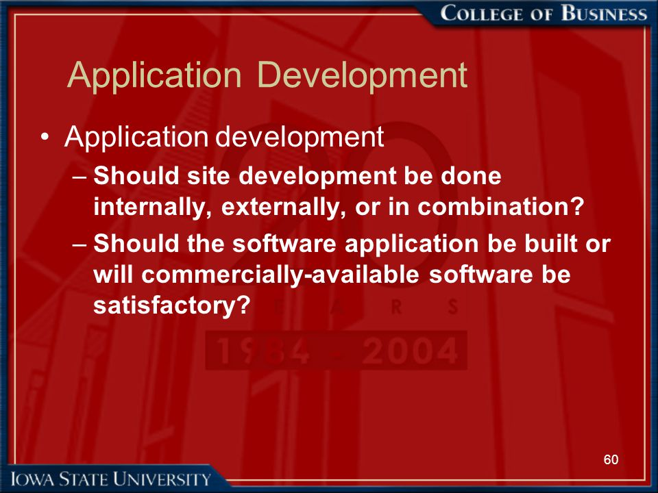 60 Application Development Application development –Should site development be done internally, externally, or in combination? –Should the software ap