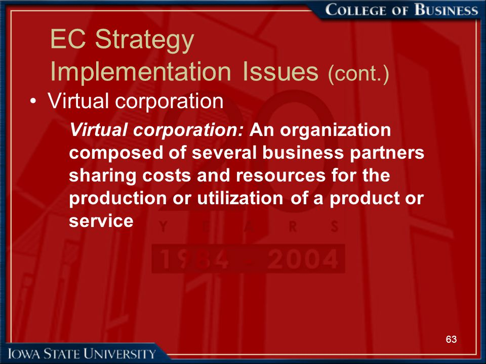 63 EC Strategy Implementation Issues (cont.) Virtual corporation Virtual corporation: An organization composed of several business partners sharing co