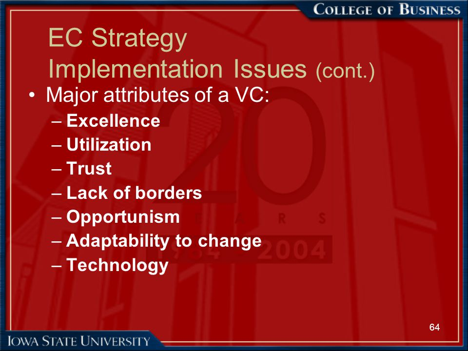 64 EC Strategy Implementation Issues (cont.) Major attributes of a VC: –Excellence –Utilization –Trust –Lack of borders –Opportunism –Adaptability to