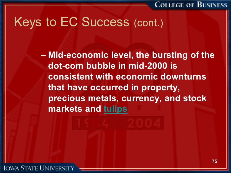 75 Keys to EC Success (cont.) –Mid-economic level, the bursting of the dot-com bubble in mid-2000 is consistent with economic downturns that have occu