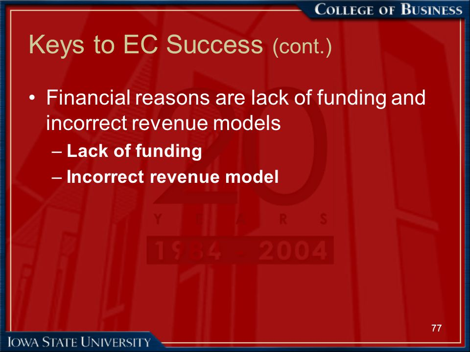 77 Keys to EC Success (cont.) Financial reasons are lack of funding and incorrect revenue models –Lack of funding –Incorrect revenue model
