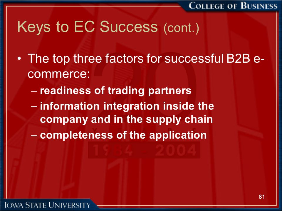 81 Keys to EC Success (cont.) The top three factors for successful B2B e- commerce: –readiness of trading partners –information integration inside the