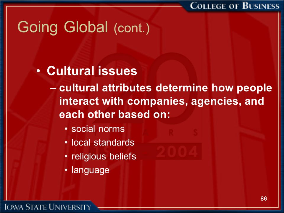 86 Going Global (cont.) Cultural issues –cultural attributes determine how people interact with companies, agencies, and each other based on: social n