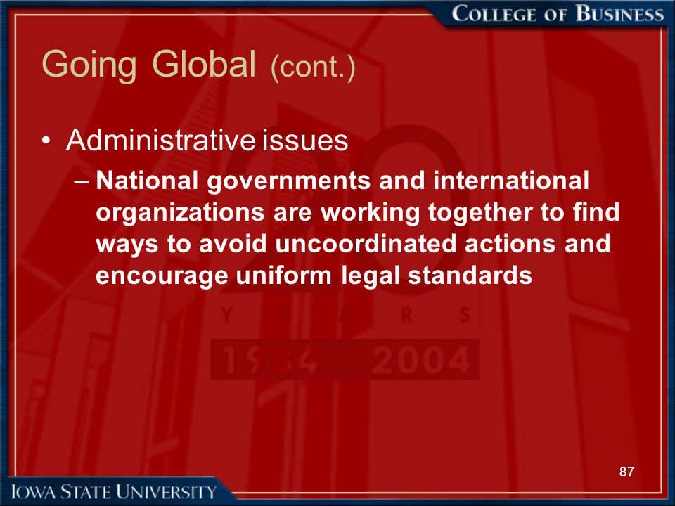 87 Going Global (cont.) Administrative issues –National governments and international organizations are working together to find ways to avoid uncoord